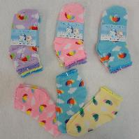 3pr Girl's Anklet Socks 4-6 [Umbrella & Clouds]